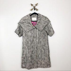 Rachel Roy Gray & Black Short Sleeve Peacoat